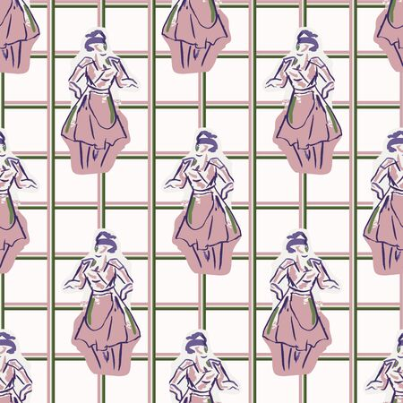 1950s housewife fashion outfit seamless vector pattern. Hand drawn loose lineart style of retro fifties vintage woman with gingham background tile. Foto de archivo - 131681138
