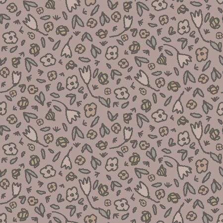 Hand drawn garden blossom seamless pattern. Japanese spring style geo tossed floral background. Soft grey neutral tones. All over print for asian zakka garden home decor, fashion.  Stock Illustratie