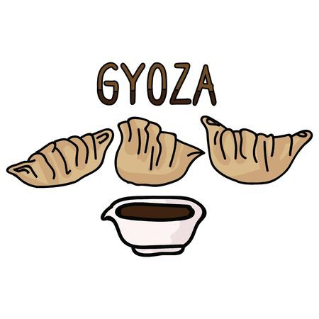 Cute gyoza meal with soy sauce typography. Hand drawn asian dumpling clipart.  Illustration
