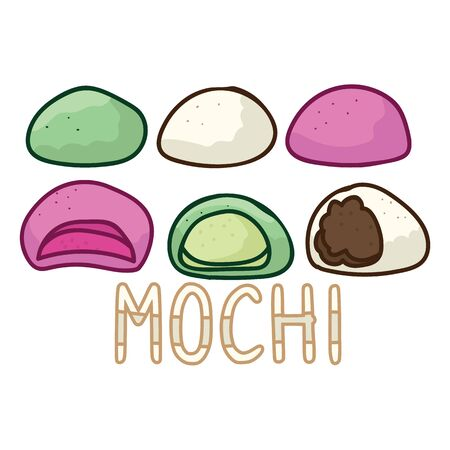 Cute mochi assortment vector. Hand drawn traditional Japanese clipart.