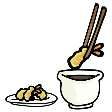 Cute tempura with dipping sauce. Hand drawn Japanese snack food clipart.
