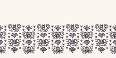 Nouveau ornamental butterfly motif border. Jugendstil style. Arabesque damask textile ribbon trim. Decorative arts crafts folk art home decor. Modernist monochrome bug. Vector seamless background