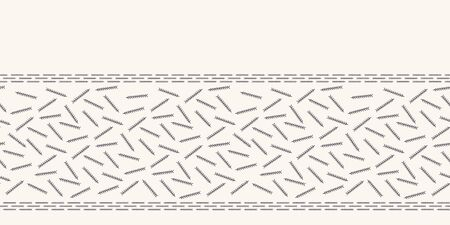 Hand drawn abstract Christmas pine needles border pattern. Tiny tossed foliage on white ecru background. Cute winter holiday banner ribbon. Festive gift wrap washi tape illustration. Seamless vector Çizim