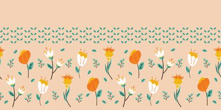 Spring flower bloom seamless border pattern. Stylized retro floral stems banner. Pretty modern feminine fashion edging. Scrapbooking banner, garden meadow stationery, coral orange ribbon trim tape
