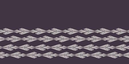 Modern geometric hand drawn woven diamond border. Repeating abstract gradient chevron ribbon trim. Ornamental monochrome geo. Trendy ethnic tribal surface design. Seamless vector edging background.