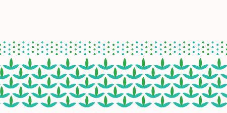 Spring leaves seamless border pattern. Stylized retro edging. Pretty modern feminine nature fashion band. Trendy fresh scrapbooking banner, fabric ribbon trim, green garden stationery washi tape.