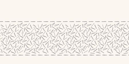 Hand drawn abstract Christmas pine needles border pattern. Tiny tossed foliage on white ecru background. Cute winter holiday banner ribbon. Festive gift wrap washi tape illustration. Seamless vector Illustration