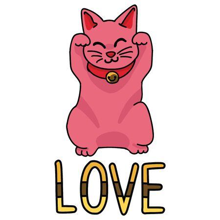 Cute love maneki neko vector. Hand drawn lucky cat clipart. Illustration