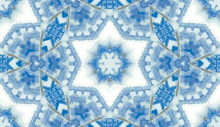 Abstract colorful kaleidoscope seamless pattern. Geometric floral vector background. Mosaic azulejo mandala graphic swatch. Ornamental decorative patterned tile. Home decor wrap, delft blue wallpaper