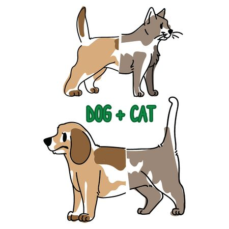 Cat and dog animal splice vector illustration. Hand drawn doodle inked pet creature mixture, trendy feline and canine monster clipart.