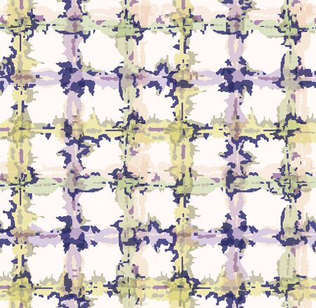Lilac shibori tie dye broken plaid grid background. Seamless pattern wax print bleached resist background. Irregular check dip dyed batik textile. Variegated textured abstract trendy fashion.