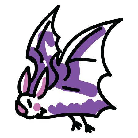 Cute halloween bat vector illustration. Spooky simple doodle vampire. Nature nocturnal clipart.