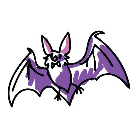 Cute purple halloween bat vector illustration. Nature wildlife. Spooky simple doodle vampire clipart.