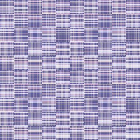 Spliced stripe geometric gingham variegated background. Seamless pattern check criss cross bleached resist textile. Trendy broken stripe digital disrupted line fashion swatch. Purple woven.
