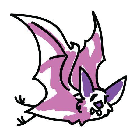 Cute pink halloween bat vector illustration. Nature nocturnal wildlife. Spooky simple doodle clipart.  Illustration