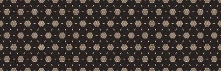 Hand drawn damask stripe seamless border pattern. Modern japanese edging medallion motif on dark homespun brown. Ecru elegant neutral tones bodure. Asian trendy homedecor, fashion.
