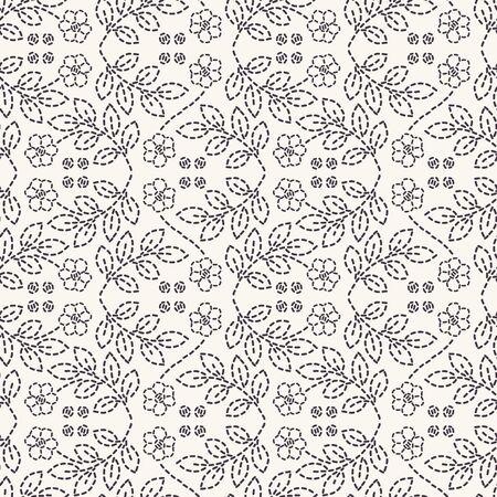 Flower stitch embroidery pattern. Simple needlework seamless vector background. Hand drawn geometric floral mosaic textile print. Ecru cream handicraft home decor. Monochrome sashiko style.  イラスト・ベクター素材