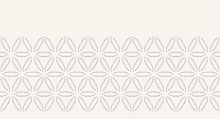 Running stitch embroidery border pattern. Simple needlework seamless vector background. Hand drawn geometric floral textile trim edge. Ecru cream home decor. Monochrome sashiko style. 写真素材 - 132824672