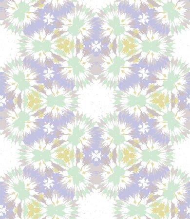 Blurry shibori tie dye naive daisy background. Seamless pattern on bleached resist white. Spring neo mint pastel for irregular dip dyed batik textile. Variegated pale textured trendy fashion.