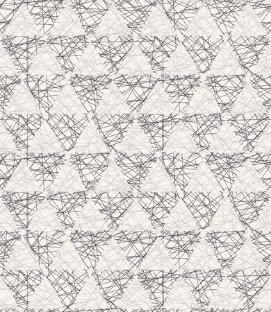 Seamless vector pattern. Hand drawn rough textured triangle. Repeating geo background. Monochrome surface design swatch. Modern geometric grid black white wallpaper. Scribbles all over print