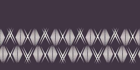 Geometric hand drawn woven diamond border. Repeating abstract gradient chevron ribbon trim. Ornamental monochrome geo. Trendy ethnic tribal surface design. Seamless vector edging background.