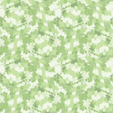 Blurry shibori tie dye camouflage background. Seamless pattern pastel mint irregular brushstroke on bleached resist white background. Dip dyed batik textile. Variegated textured trendy fashion.