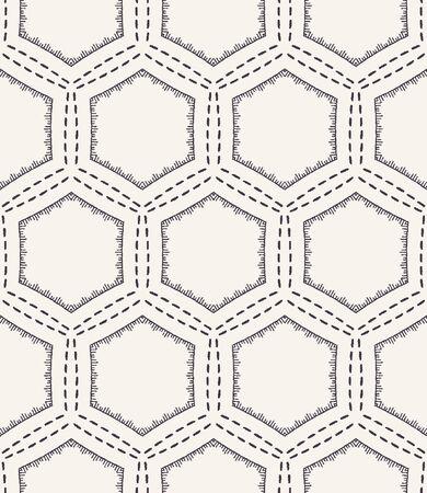 Honeycomb embroidery pattern. Victorian hexagon needlework seamless vector background. Hand drawn geometric textile print. Ecru cream handicraft home decor. Monochrome sashiko style. 矢量图像