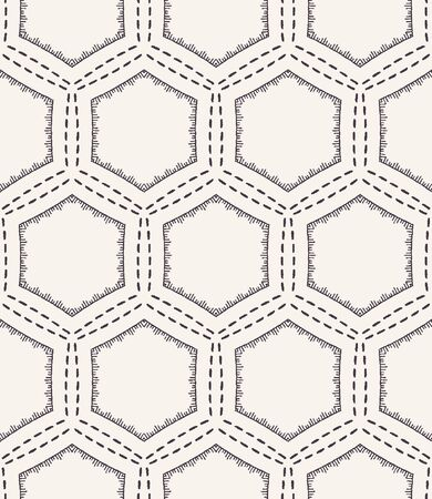Honeycomb embroidery pattern. Victorian hexagon needlework seamless vector background. Hand drawn geometric textile print. Ecru cream handicraft home decor. Monochrome sashiko style. Illustration
