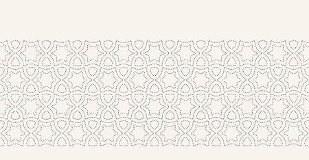 Running stitch embroidery border pattern. Arabic star needlework. Hand drawn ornamental textile ribbon trim. Ecru cream home decor. Monochrome simple starry grid. Seamless vector banner