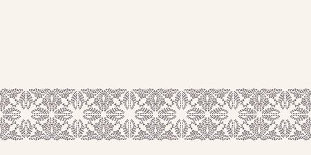 Flower stitch embroidery border pattern. Simple needlework Hand drawn geometric floral mosaic. Textile ribbon trim. Ecru cream home decor. Monochrome sashiko style. Seamless vector background 写真素材 - 132824860