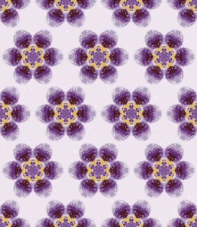 Winter snowy daisy tie dye flower stripe background. Seamless pattern wax print bleached resist background. Purple lilac dip dyed batik textile. Variegated textured floral trendy fashion.