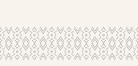 Running stitch embroidery border. Victorian diamond needlework pattern. Hand drawn ornamental textile ribbon. Ecru cream home decor edging. Monochrome chevron seamless vector background.