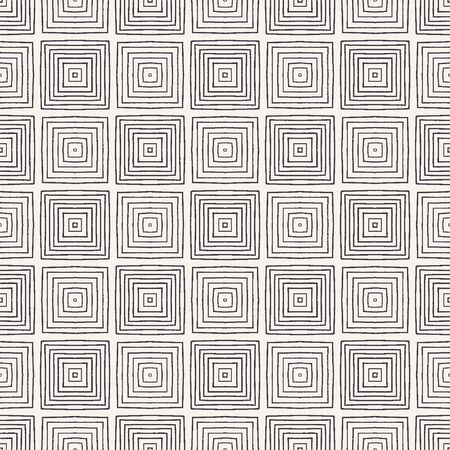 Seamless vector pattern. Hand drawn square tile shapes. Repeating geometrical background. Monochrome surface design.