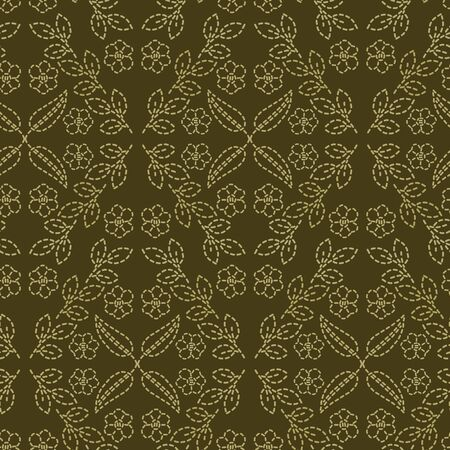 Floral leaf motif running stitch style. Victorian needlework seamless vector pattern. Hand stitch ornamental textile print. Old green antique handicraft home decor. Embroidery quilt template.  イラスト・ベクター素材