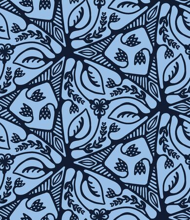 Seamless pattern indigo blue flower motif Japanese style. Hand drawn dyed floral damask textiles. Decorative trendy monochrome all over.