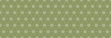 Hand drawn kaleidoscope wagara damask seamless border pattern. Modern japanese motif, hand drawn in sofgrass green ecru neutral tones. Ribbon trim edging. Illustration