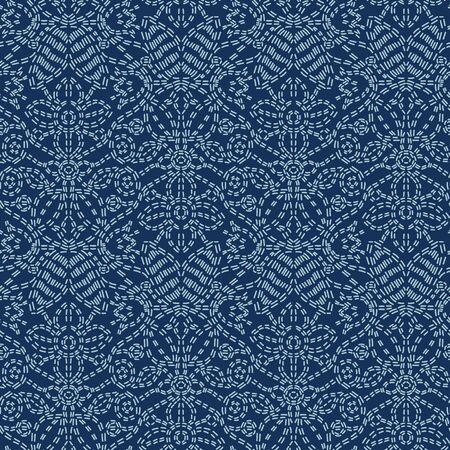 フローラルモチーフ刺しこスタイル日本ニードルワークシームレスベクターパターン。テキスタイルプリント、クラシックジャパンデコレーション、アジアの背景やシンプルな着物キルティングテンプレートのためのハンドステッチインディゴブルーテクスチャ。 写真素材 - 132573428