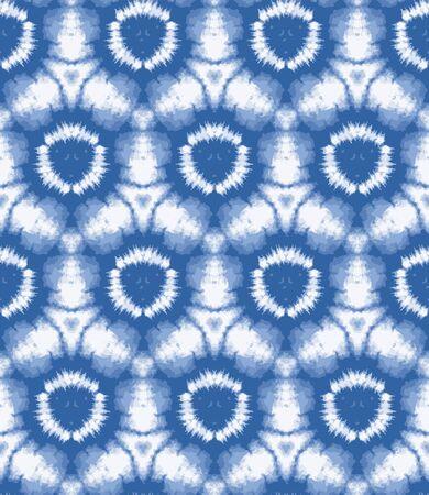 Arrière-plan flou shibori sunburst tie dye. Cercle irrégulier de modèle sans couture sur fond blanc de résistance blanchie. Tissu batik teint par immersion de style japonais. Mode tendance texturée variée.