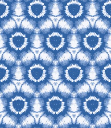 Blurry shibori sunburst tie dye background. Seamless pattern irregular circle on bleached resist white background. Japanese style dip dyed batik textile. Variegated textured trendy fashion.
