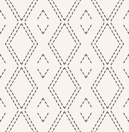 Running stitch embroidery pattern. Victorian diamond needlework seamless vector background. Hand drawn ornamental textile print. Ecru cream handicraft home decor. Monochrome simple chevron