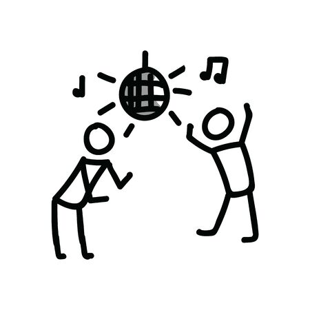 Dancing disco stick figure vector illustration. Hand drawn ux design nightclub stickman journal clipart.