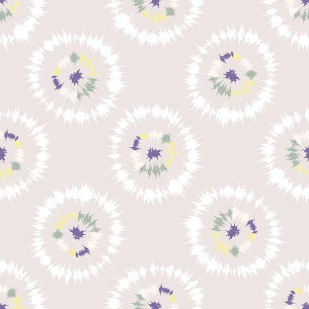 Dotty Shibori-Krawatten-Sonnendurchbruch-Kreis-Streifenhintergrund. Nahtloses Muster auf gebleichtem weißem Textil. Pastellgefärbter Tintenring-Batik-Alloverdruck. Trendige retro geschlechtsneutrale Kindermode.