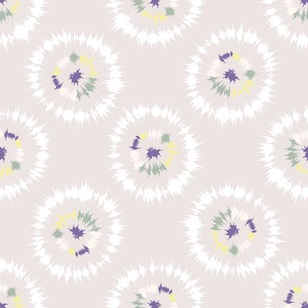 Dotty shibori tie dye sunburst circle stripe background. Seamless pattern on bleached resist white textile. Pastel dyed ink ring batik all over print. Trendy retro gender neutral kid fashion. 版權商用圖片 - 133543687