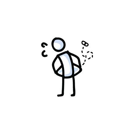 Hand drawn poor stick figure vector illustration. Empty pockets. Lack of money bullet journal clipart.