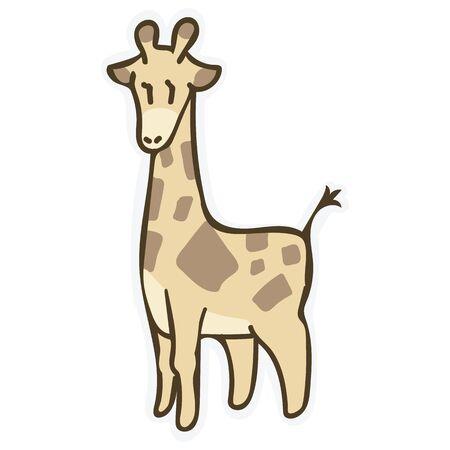 Adorable Cartoon Giraffe Clip Art. Safari Animal Icon. Hand Drawn Kawaii Kid Motif Illustration Doodle in Flat Color. Isolated Baby, Nursery and Pastel Childhood. 일러스트