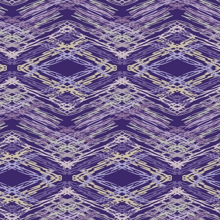 Spliced chevron geometric variegated background. Seamless pattern with woven dye broken stripe. Bright gradient textile blend all over print. Trendy digital disrupted line fashion swatch. Purple hue