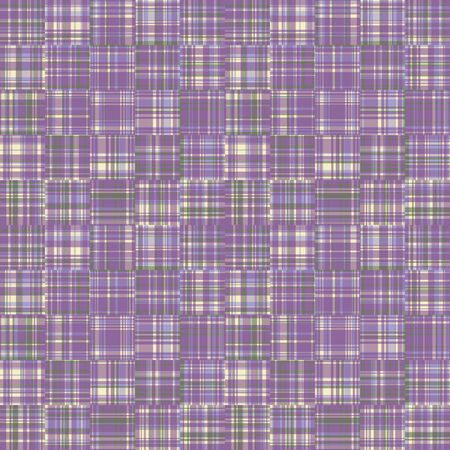 Spliced stripe geometric gingham variegated background. Seamless pattern check criss cross bleached resist textile. Trendy broken stripe digital disrupted line fashion swatch. Purple woven dye color