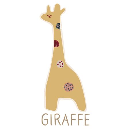 Adorable Lineless Cartoon Giraffe Clip Art. Childish Animal Icon. Hand Drawn Kawaii Kid Motif Illustration Doodle in Flat Color. Isolated Baby, Nursery and Pastel Childhood Character.