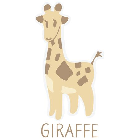 Adorable Lineless Cartoon Giraffe Clip Art. Safari Animal Typography Icon. Hand Drawn Kawaii Kid Motif Illustration Doodle in Flat Color. Isolated Baby, Nursery and Pastel Childhood Character.