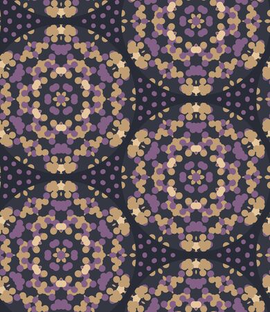 Moody wax print daisy flower background. Seamless pattern with golden bleached resist background. Irregular purple dip dyed batik textile. Variegated color in indonesia style trendy fashion all over.